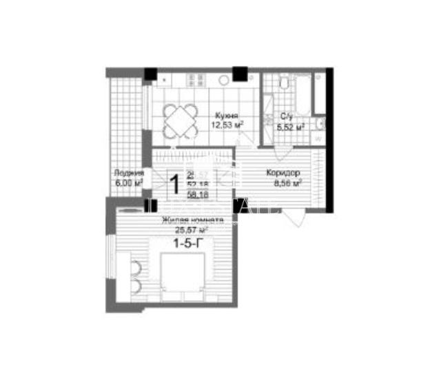"""1-комнатная квартира в респектабельном новострое ЖК """"Люксембург"""""""